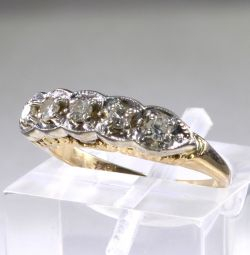 Gold women ring with 0.2 carat diamonds