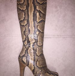 Autumn boots made of python skin