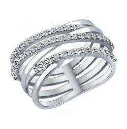 Ασημένιο δαχτυλίδι με κυβικά ζιρκονία 94012050 SOKOLOV