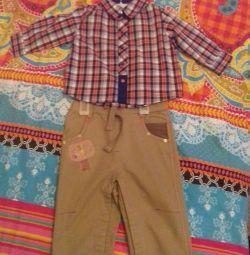 Новые детские сорочка и джинсы