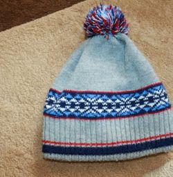Шерстяная двойная теплая шапка на 3-5 лет.