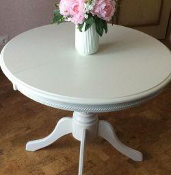 Стол раздвижной белый D90+35см