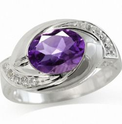 925 ασημένιο δαχτυλίδι με αμέθυστο και τοπάζ