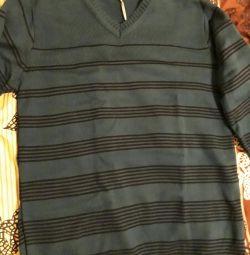 Cardigan pulover cu dungi de smarald