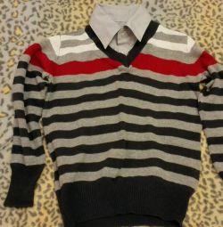 Slim Sweater cu gâtul gâtului 116-122