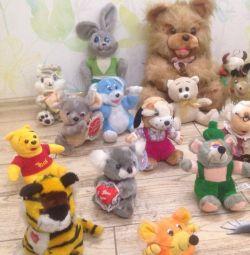 30 jucării moi, urși, câini, pisici, iepuri