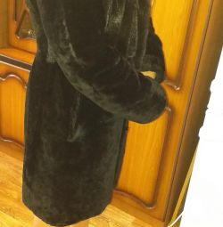 Muton fur coat with mink