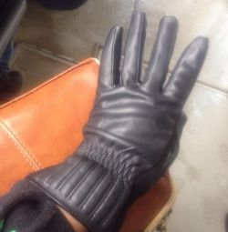 Gloves for women, leather, insulated