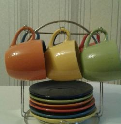Selling a set of colored cups and saucers