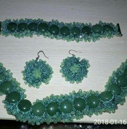 Natural jade jewelry set
