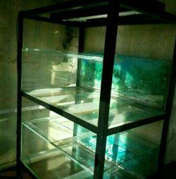 Стойка с аквариумами 2х200л