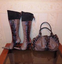Комплект сапоги ботфорты и сумка