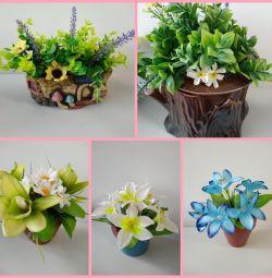 Yapay çiçeklerle kompozisyonlar