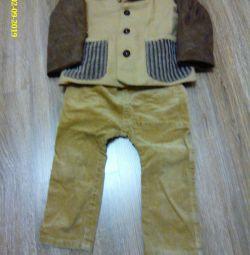 костюм(брюки и куртка)из вельвета в мелкий рубчик