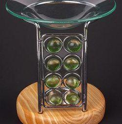 lampă cu aromă de sticlă și smarald de lemn