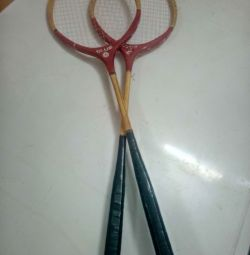Badminton, rachete, din lemn.