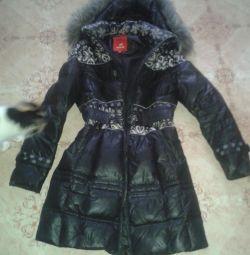 jacheta în jos (pene în jos) cu glugă cu blană de vulpe