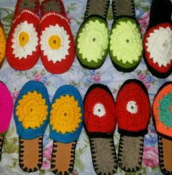Slippers, household, knitted