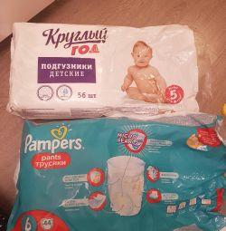 Pampers ve külotlu açık paketler