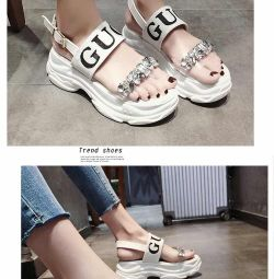 Luxury Designer Crystal Wedges Chunky Heels Brand