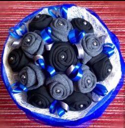 Bouquet for men of socks in blue