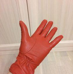 Mănuși portocalii strălucitoare din piele autentică, p. 7