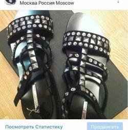 Sandals new SHY Italy 39 suede Swarovski crystals