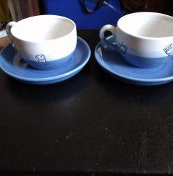 Чашки синяя керамика