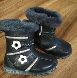 Νέες χειμωνιάτικες μπότες 21 r δέρμα + nat.meh