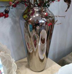 Ваза керамика серебро 40*23*15