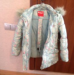 Down jacket with a warm vest for a girl of 6-8 years.
