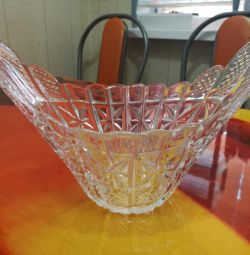 Vase, salad bowl, crystal