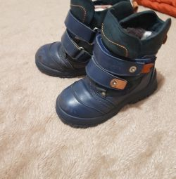 Winter boots on a boy
