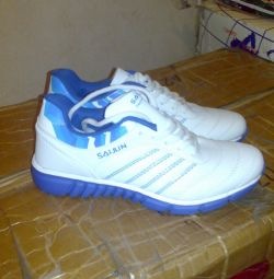 New white with blue sneakers