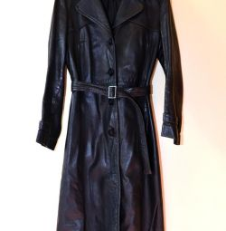 Women's black leather coat, size 42-44