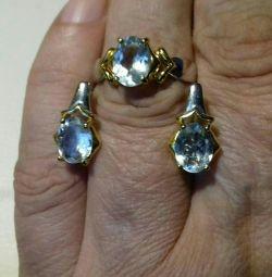 Aquamarine naturale. Set auriu de argint.