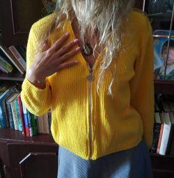 Jacheta tricotată galben strălucitor cu fermoar