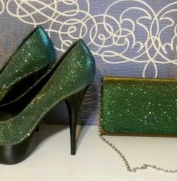 Shoes + clutch (chameleon).