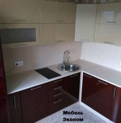 Modular kitchen 2.1 * 1.7 m. Gold / Cinnamon (gloss)