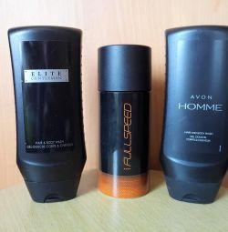 erkek deodorantı şampuan ve duş jeli