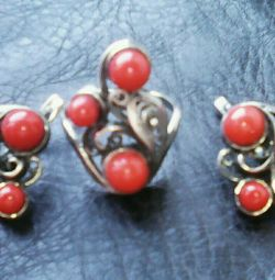 Silver set with corals
