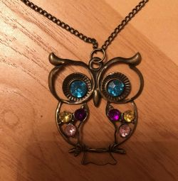 Owl pendant with chain. Vintage style