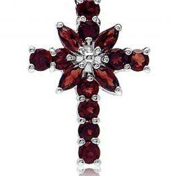 Κρεμαστό σταυρό από ασήμι 925 με ρόδι