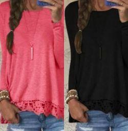 Siyah ve pembe: Dantelli tişörtler. yeni