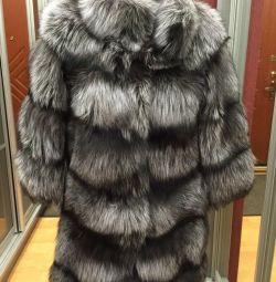 Νέο παλτό ασημί αλεπού