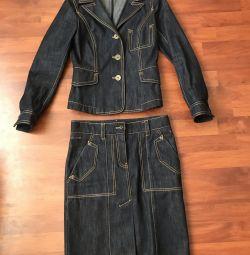 Джинсовий куртка і джинсова спідниця louis Vuitton