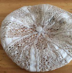 Lace linen beret, art 048, size 54-56