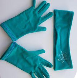 Gloves, headband, skate covers