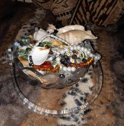 Coș de cristal cu scoici și perle naturale