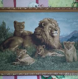 Tapestry picture Family of lions